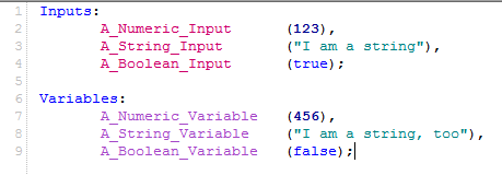 PowerLanguage inputs and variables image