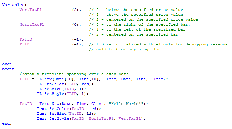 EasyLanguage text appearance code image
