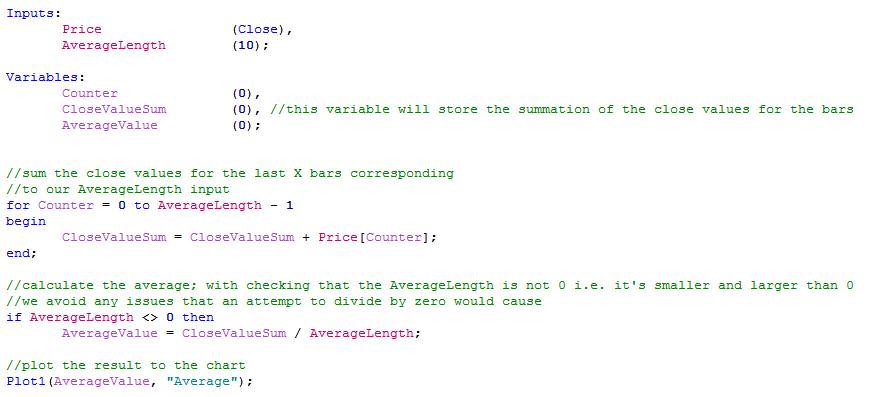 simple moving average code image