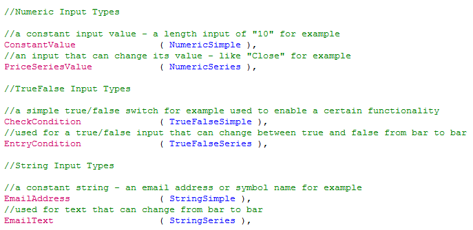 Input types for functions